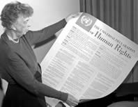 Click on Eleanor Roosevelt to download a pdf file of the Universal Declaration of Human Rights